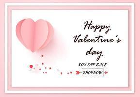 Valentinstag Verkauf mit Ballon Herz Muster auf weißem Hintergrund. Papierkunststil. vektor