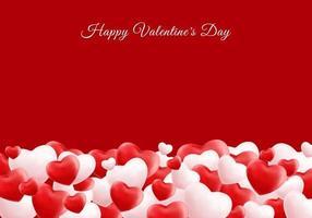 glückliche Valentinstag 3d realistische rot und weiß viele Herzen mit Platz für Ihren Text