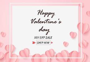 Papierkunstballonherzmuster auf weißem Hintergrund. Valentinstag Verkaufskonzept. vektor