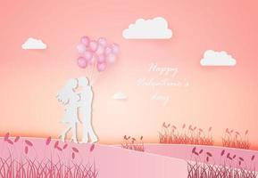 abstrakter Hintergrund des Einladungskarten-Valentinstags mit jungem freudigem Paar auf Feld. vektor