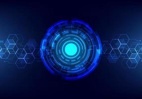 abstrakt teknik futuristiskt överför digitalt datanätverk till centrum koncept. blå cirkel internet tech bakgrund. vektor
