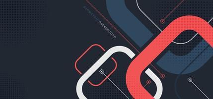Banner Web Template Design abgerundete Quadrate geometrische blau und rot auf schwarzem Hintergrund vektor