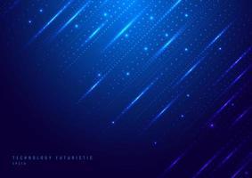 abstrakt teknik digital futuristiska olika neon glödande prickar partiklar med belysning på blå bakgrund vektor