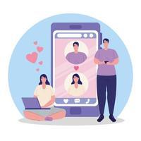 Online-Dating-Service-Anwendung mit Menschen auf Geräten