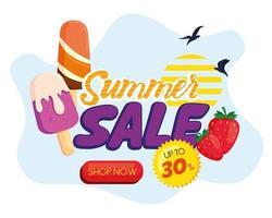 Sommerverkaufsfahne mit Eiscremeikonen