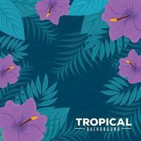tropischer Laubhintergrund mit grünen Blättern und lila Blumen