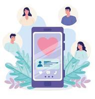 Online-Dating-Service-Anwendung mit Smartphone mit Herz- und Personenprofilen vektor