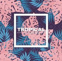 tropisk lövverk bakgrund med blå och rosa blad vektor