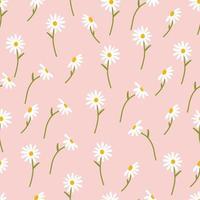 Gänseblümchenblume nahtlos auf rosa Hintergrundillustration. Kamillendesign ideal für Modestoffe, Trendtextilien und Tapeten. vektor