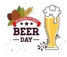 internationale Feier zum Biertag mit Bierglas