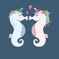 Einhorn-Seepferdchen, die mit Herzvektorillustration küssen vektor