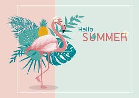 Sommerfahnenentwurf des Flamingos und der tropischen Blätter mit Kopienraumvektorillustration