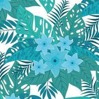tropischer Hintergrund mit blauen Blumen und grünen Blättern