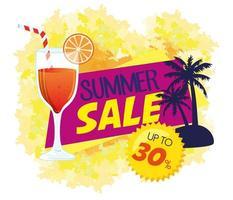 Sommerverkaufsbanner mit Cocktailgetränk