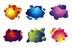 abstrakter moderner Fahnenentwurf der fließenden Farbform 3d auf weißer Hintergrundvektorillustration