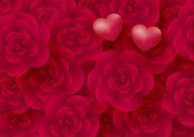 rosa blommor och hjärtan bakgrund för alla hjärtans dag vektorillustration vektor