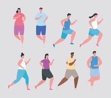 Leute laufen und Marathonläufer setzen