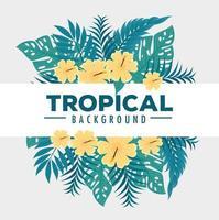 tropischer Laubhintergrund mit grünen Blättern und gelben Blumen