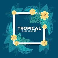 tropisk lövverkramkrans med gröna blad och blommor vektor