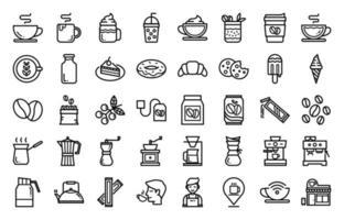 kafferelaterad ikonuppsättning, kaffebryggare, kafé och mer. vektor