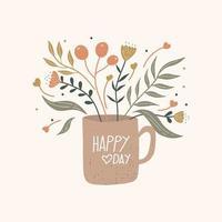 glad Alla hjärtans dag gratulationskort. blommig fyrkantig mall med handritad bokstäver. vektor