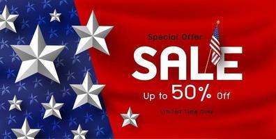 Amerika Urlaub Verkauf Banner Hintergrund Vektor-Illustration