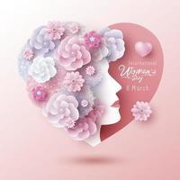 Internationell kvinnodagdesign för 8 mars för kvinna och blommor i hjärtaformvektorillustration