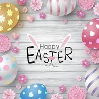 Ostertag Design von Eiern und Blumen auf weißem Holz Textur Hintergrund Vektor-Illustration