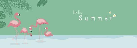 Sommerkonzeptentwurf des Flamingos mit tropischen Blättern in der Waldvektorillustration