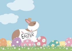 Ostertagsentwurf des Kaninchens und der Eier mit Blumen auf Grasvektorillustration