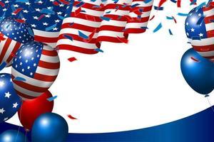 USA oder amerikanische Flagge und Ballon auf weißer Hintergrundvektorillustration