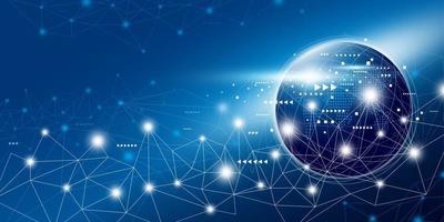globales Netzwerkverbindungsdesign mit Kopienraumvektorillustration vektor