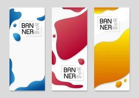 Satz des abstrakten stehenden Fahnenhintergrunddesigns der fließenden Farbenvektorillustration