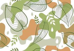 nahtloses Muster mit organischen Formflecken im Memphis-Stil. stilvolle Blumen gemalte Tapete mit Blättern.