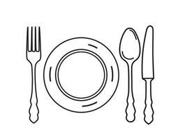 Besteck. Designelemente für Teller, Gabel, Messer und Löffel. Strichzeichnungen, die Symbolsatz essen. vektor