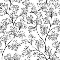 nahtloses Blumenmuster. hinterlässt Hintergrund. gedeihen Gartenblatt Linie Kunst Hintergrund vektor