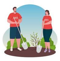 frivilliga människor plantera ett träd, ekologi livsstilskoncept vektor