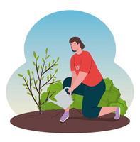 volontär kvinna plantera ett träd, ekologi livsstilskoncept vektor