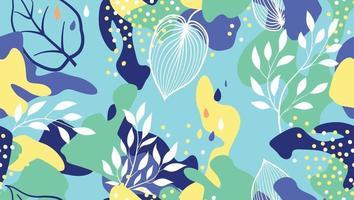 abstrakta organiska blotting och blad sömlösa mönster i trendig stil. snygg bakgrund med prickar och flytande blommiga former.