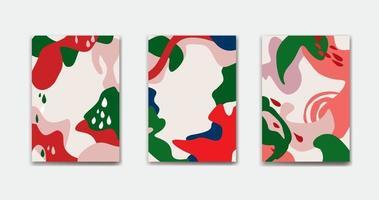 Satz abstrakter Blumenhintergrundentwürfe für Sommerferien mit Blättern.