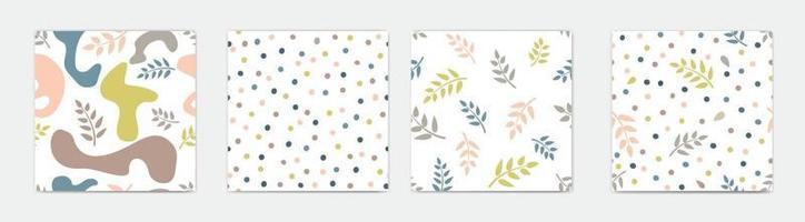 uppsättning abstrakta sömlösa blommönster med blad för sommarlovet.