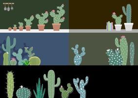 Kaktus in der Gartenvektorillustration
