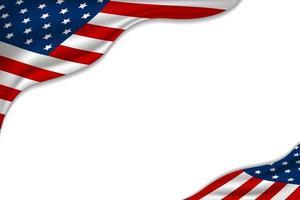 USA oder amerikanische Flagge auf weißer Hintergrundvektorillustration