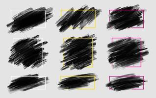 svart penseldrag med linjeram på grå bakgrundsvektorillustration vektor