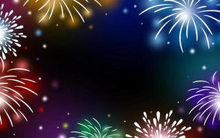 Feuerwerk auf schwarzem Hintergrund mit Kopienraumvektorillustration