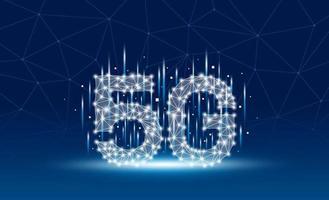 Design för mobil mobilnät 5g på blå bakgrundsvektorillustration