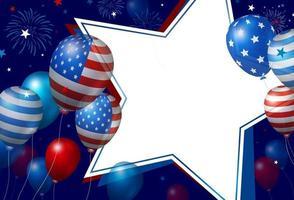 USA-Bannerentwurf der Luftballons und des leeren weißen Papiersterns mit Feuerwerksvektorillustration