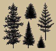 Tannenbaumschattenbild auf braunem Papierhintergrundvektorillustration