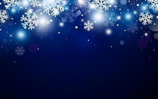 Weihnachtshintergrunddesign von Schneeflocke und Bokeh mit Lichteffektvektorillustration