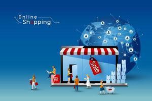 online shopping design av bärbar dator och människor med global nätverksanslutning vektorillustration vektor